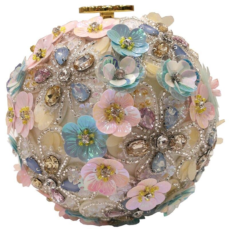Primavera nueva marea mujer flores de mano incrustadas con taladro de agua un solo hombro slant de mano con bola de perlas redondo bolsa - 5