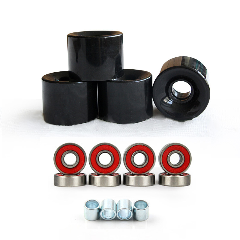 A Set Of 4 Pro Skateboard Wheels 78A Black+Abec 9 Bearings+ Spacers Repair Kit