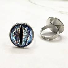 Cat Eye dragon eye Glass Art Cabochon jewelry rings gift for send friend adjustable ring handmade(China)
