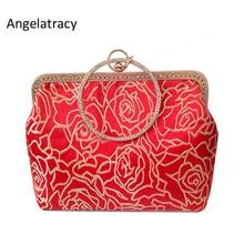 Angelatracy 2018 Red Rose Clutch Women Evening Wrestles Floral Bag Ladies Golden Handbag Diamond Flowers Exquisite