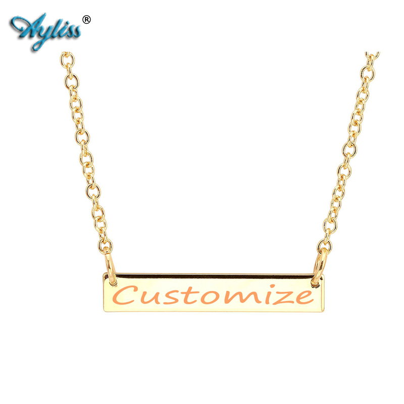 Ayliss 22 Personalized Customize Engraved Alloy Bar Charm Pendant Necklace Special Gift Lover/Fathers/Mothers Day Anniversary