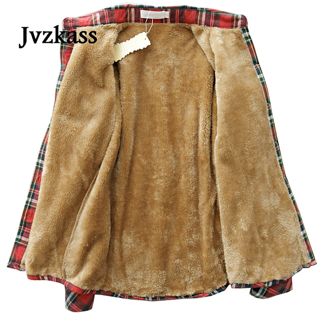 Jvzkass Winter new version plus velvet shirt female long sleeve thick warm plaid shirt Slim bottoming shirt large shirt Z284
