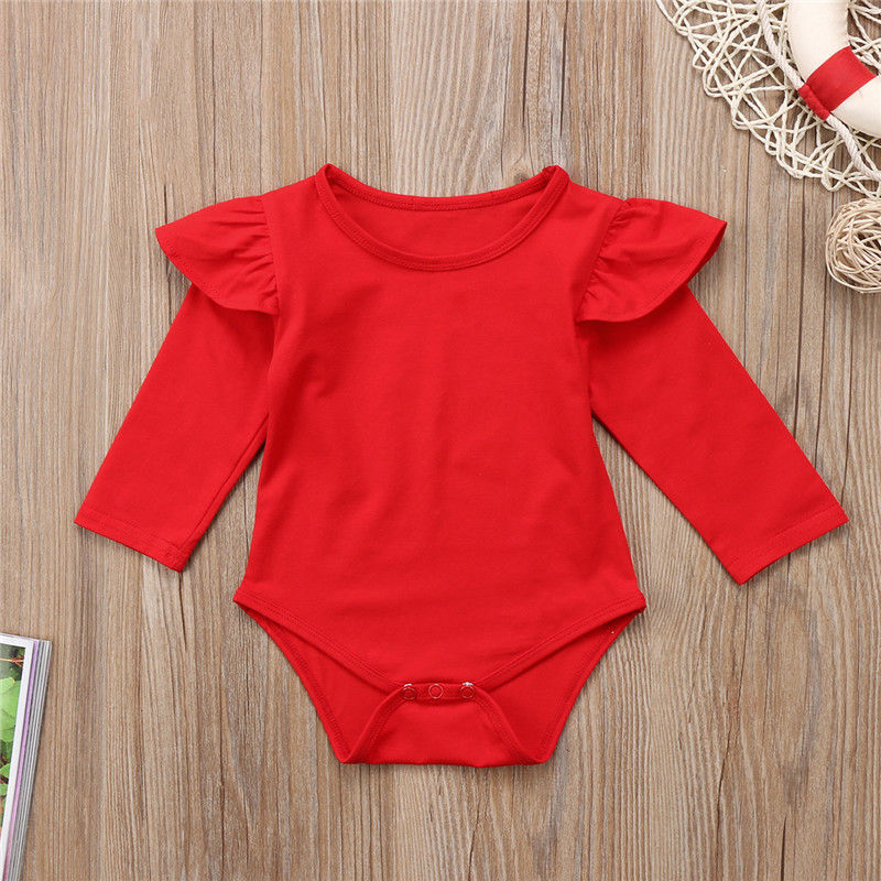 Newborn Cute Lovely Infant Toddler Baby Girls Long Sleeve Ruffles Romper Fille Jolie Jumpsuit Solid Red Color One Piece Outfit