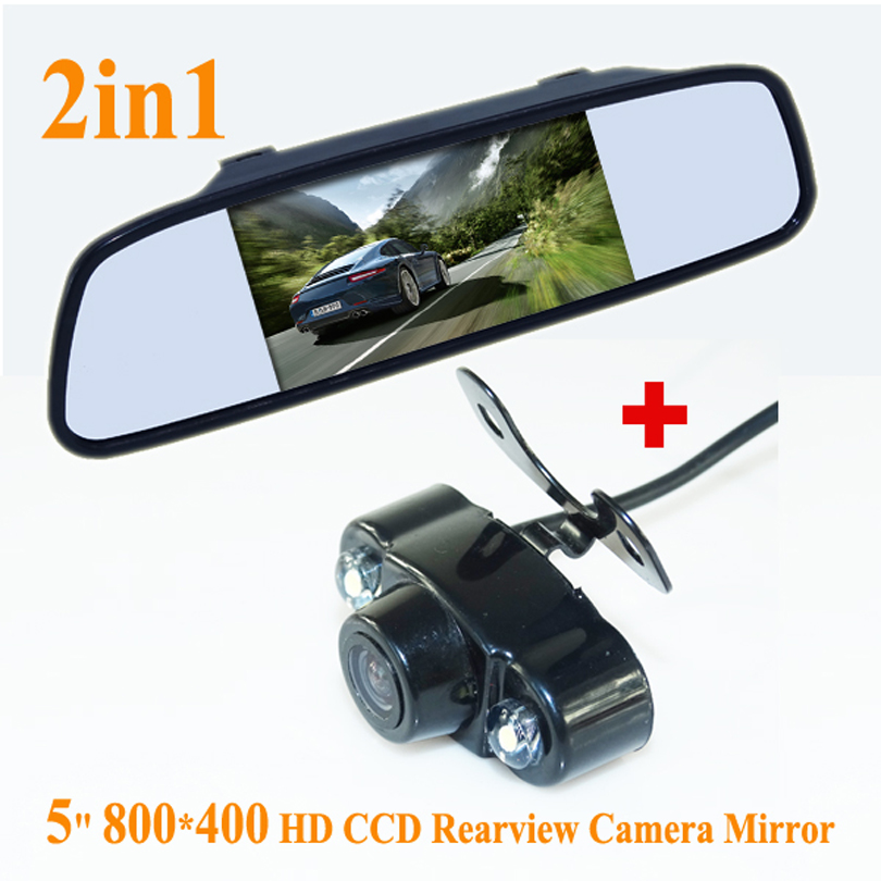 "5\"" Rearview Mirror <font><b>Monitor</b></font> + Reverse Car Rear View Camera HD Video Parking + car rear view Camera"
