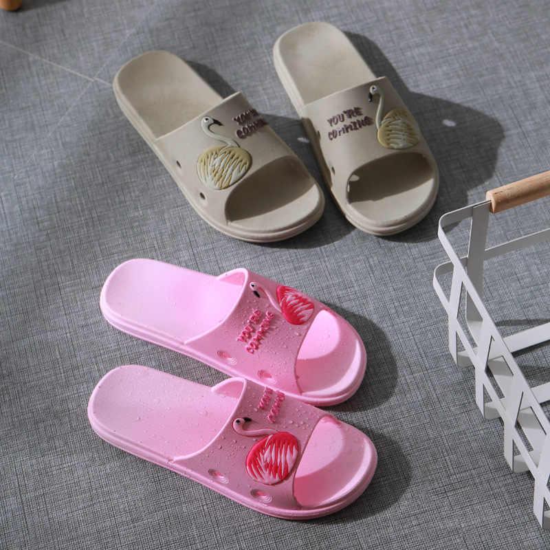 2019 zapatillas de mujer lindo flamenco deslizamiento de verano zapatillas de playa sandalias de plataforma zapatos de mujer Chanclas Zapatos de Casa cómodos