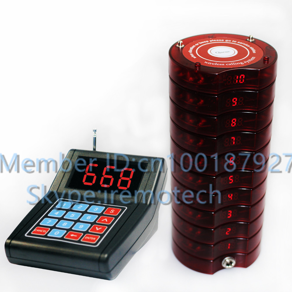 1 keypad call  20 Coaster Pager 2 charger Restaurant&Hotel Supplies wireless calling system vibration buzzer guest paging wireless buzzer calling system new good fashion restaurant guest caller paging equipment 1 display 7 call button