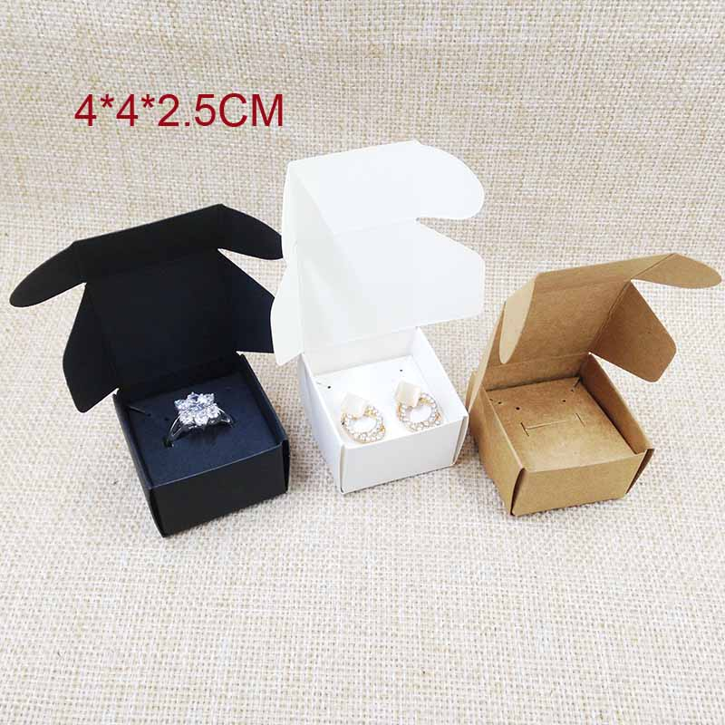 DIy Paper Jewelry Box With Earring Card Inserts 100box +100 Ring /earring Cards White/brown/black Gift Box Earring Ring Box