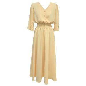 Image 5 - Frauen V Neck Sommer Kleider Chiffon Flare Hülse Dünne Taille EINE Linie Koreanische Stil Kleidung Design Taste Hemd Kleid Lila gelb