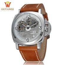 2019 Men Automatic Watches Mechanical Black Genuine Leather  Wristwatch Skeleton Military Style Watch OUYAWEI Luxury Brand