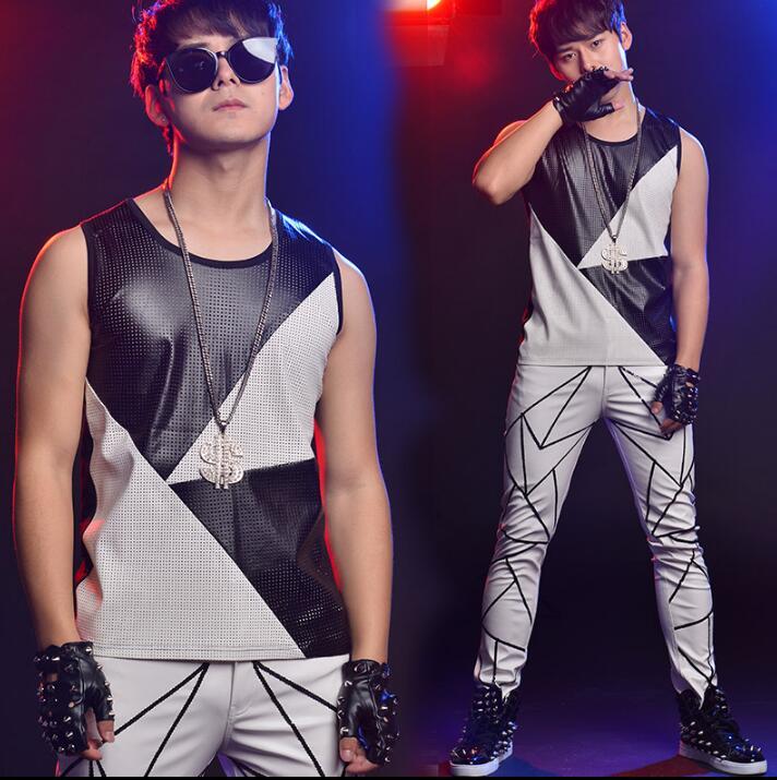 2020 summer style personality slim male sleeveless vest men splice vests punk rock chalecos singer dance stage star fashion