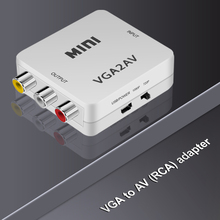 Hot 1080P Mini HD AV2VGA VGA2AV Video Converter with 3.5mm Audio VGA to AV Converter AV To VGA Conversor RCA For PC TV Computer
