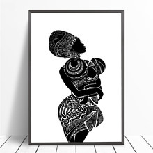 Beautiful African Woman With Baby Bedroom Wall Art Canvas Painting Black and White Wall Picture Poster Modern Print Home Decor