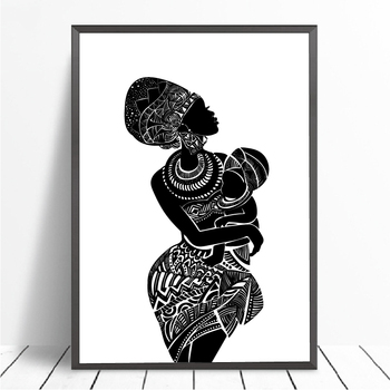 painting of african mother holding her baby