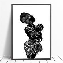 Piękne African kobieta z dla dzieci sypialnia obraz ścienny na płótnie czarny i biały obraz na ścianie plakat nowoczesne drukuj wystrój domu tanie tanio Płótno wydruki Rysunek malarstwo Unframed Wodoodporny tusz Pojedyncze Malowanie natryskowe PH4585-20190330 Pionowe Prostokąta
