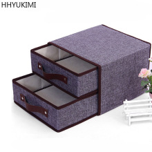 HHYUKIMI Cotton &Linen Two Drawers Underwear Classified Storage Box Sundries Toy Book Shoes Clothing Baskets Container Organizer(China)