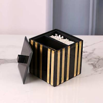 Креативная стеклянная Золотая полосатая коробка для салфеток скандинавском стиле журнальный столик для гостиной спальни макияж ящик для хранения пультов дистанционного управления пепельница - Цвет: C