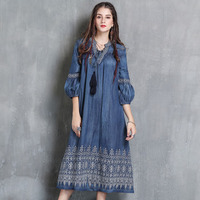 dress female 2019 new temperament in the spring lantern sleeve long easy leisure embroidery wind restoring ancient ways
