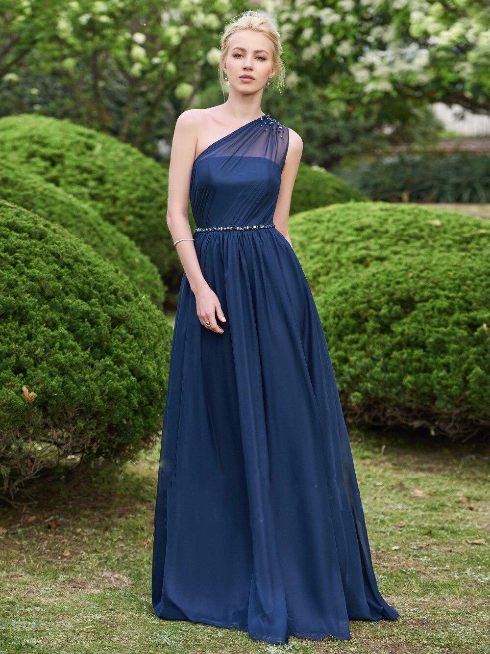 ca4a72663b Azul real de un hombro vestidos de dama de gasa simple con cuentas vestidos  vest