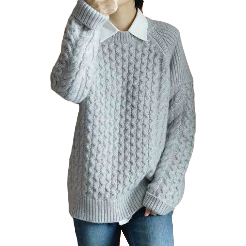 FRSEUCAG 2018 Autumn And Winter New Female Heavy Round Neck Twist Cashmere Sweater Loose Sweater Thick Sweater Bottoming Shirt