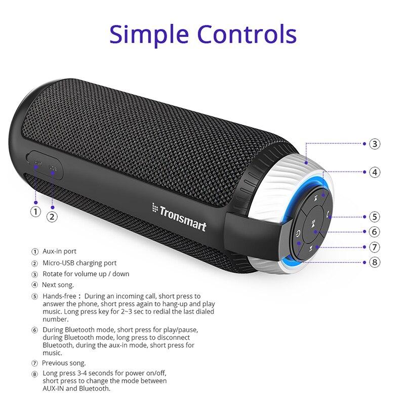 Tronsmart elemento T6 Bluetooth altavoz 25 W altavoz portátil con 360 sonido estéreo de barra de columna para la música MP3 jugador - 4