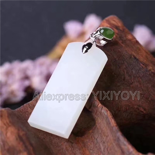 925 Sterling Silver White Green HeTian Jade Long Buckle Elegant Style Lucky Pendant + Chain Necklace Fine Jewelry Charm Gift925 Sterling Silver White Green HeTian Jade Long Buckle Elegant Style Lucky Pendant + Chain Necklace Fine Jewelry Charm Gift