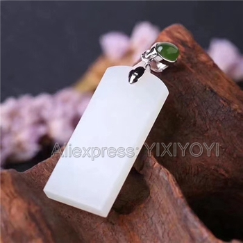 925 Sterling Silver White Green HeTian Jade Long Buckle Elegant Style Lucky Pendant + Chain Necklace Fine Jewelry Charm Gift