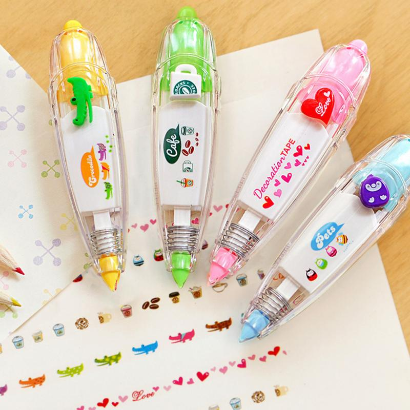 Fashion Stationery Cute Little Fluorescent Push Tape Push Lace Correction With Decoration Student Gifts