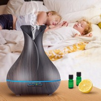 Vase Black Wood Ultrasonic Aroma Humidifier Cool Mist Portable Aromatherapy Essential Oil Diffuser Mist Maker Nebulizer