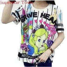 Cartoon Summer School Clothes Back 95 Number Cool Camisa Anime Feminina Harajuku Lolita Japan Kawaii Female T-shirt