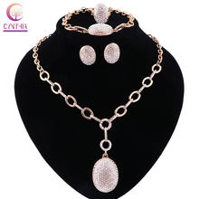Jewelry Sets For Women Bridesmaid Full Crystal African Beads Jewelry Set Gold Color Ball Ethiopian Wedding Jewellery(China)