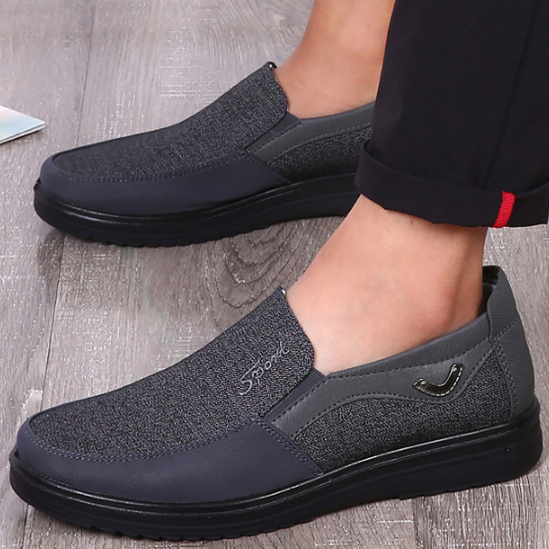 Men's Casual shoes Slip on Loafers Plus size 38-50 Trainers Adult Patchwork None-Woven Breathable Boat shoes leather male shoe