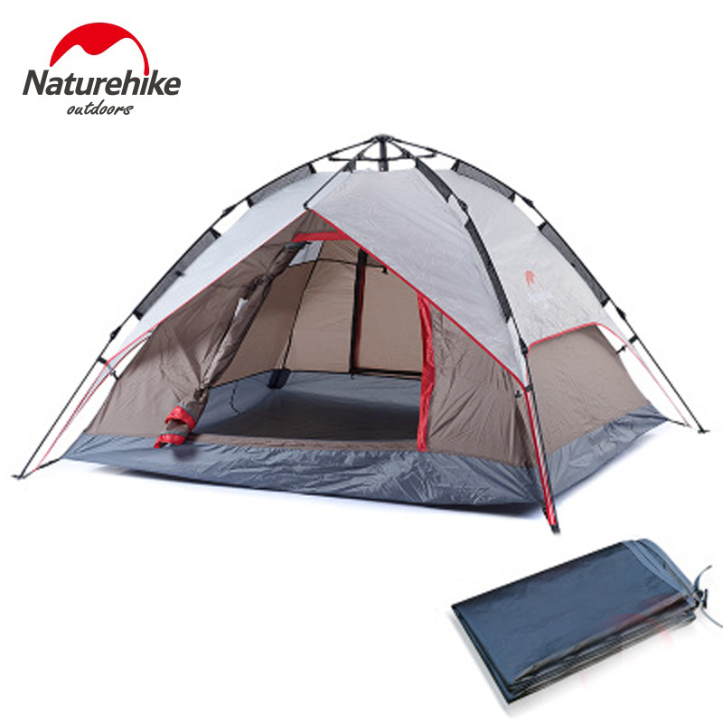 Naturehike Best Seller Double Layer 3 4 Person Rainproof Outdoor Camping Tent for Hiking Fishing Hunting Adventure Picnic Party high quality outdoor 2 person camping tent double layer aluminum rod ultralight tent with snow skirt oneroad windsnow 2 plus