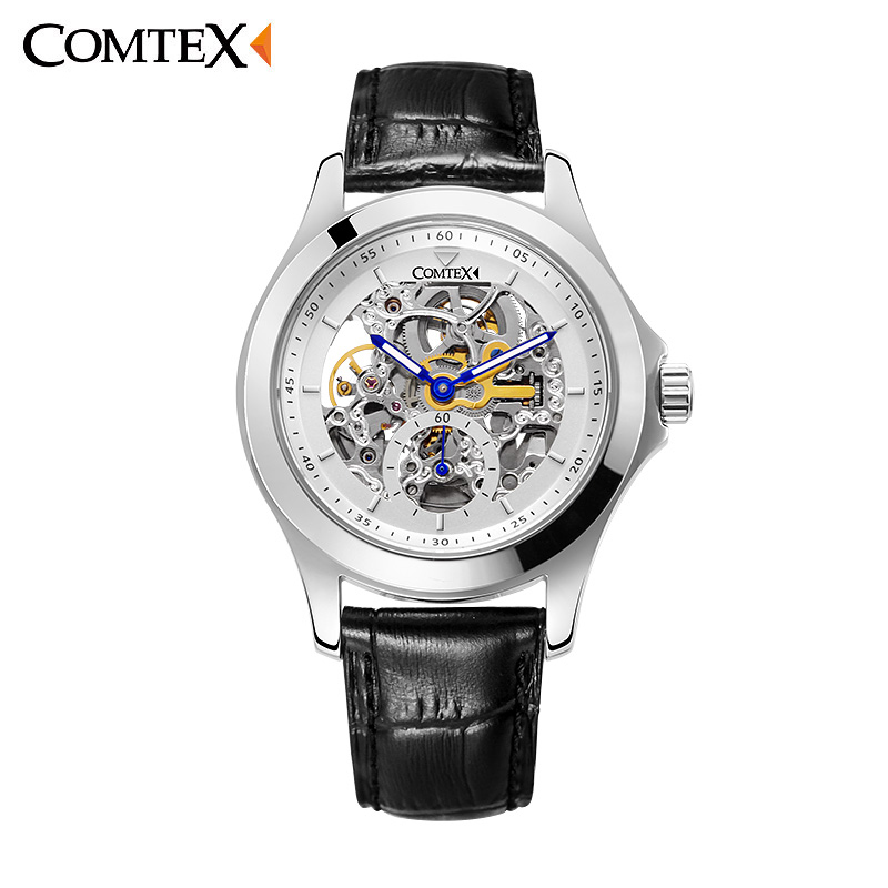 Skeleton Hollow Silver  Men Mechanical Watches Hand Wind Men Luxury Business Black Leather Strap Wrist Watch relogio masculino  1pcs men s luxury mechanical wristwatch skeleton watches hand wind up leather strap free shipping wholesale relogio masculino j5