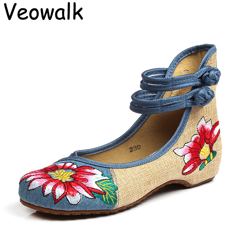 Veowalk Autumn Fashion Women's Shoes zapatos mujer,Ladies Old Peking Chinese Traditional Floral Old Beijing Cloth Shoes Big Size vintage embroidery women flats chinese floral canvas embroidered shoes national old beijing cloth single dance soft flats