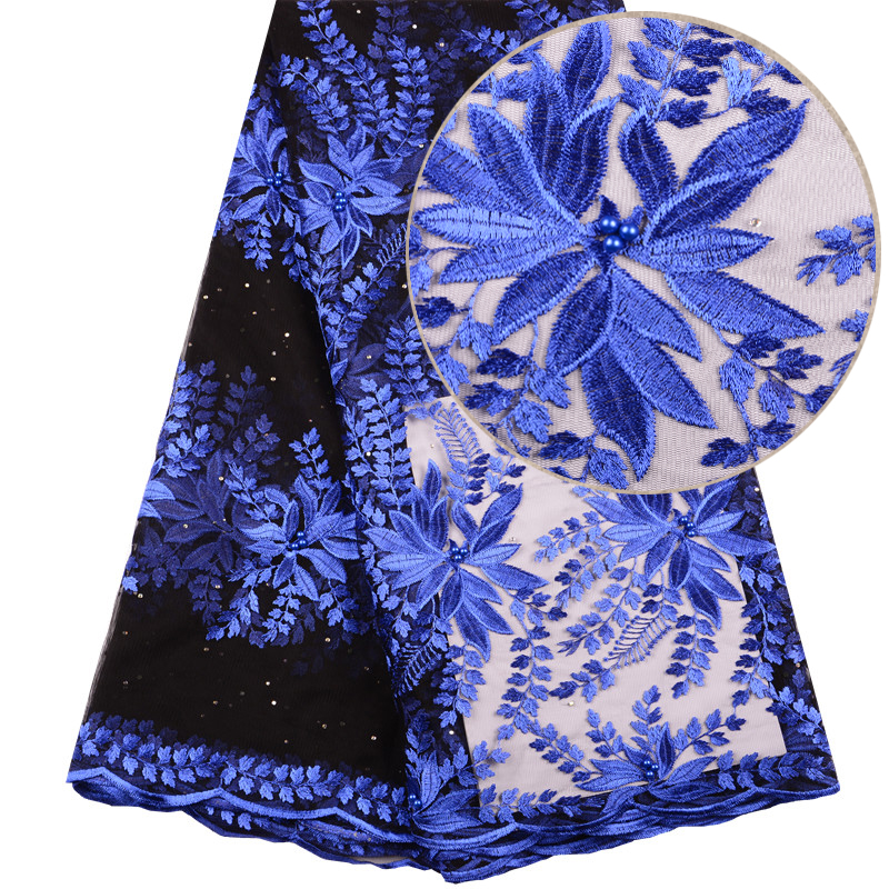 Royal Blue Nigerian Women Wedding French Tulle Net Lace Dress With Beads High Quality African Lace