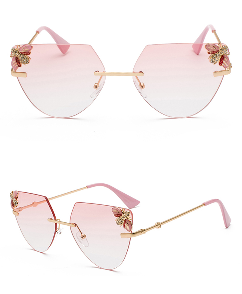 Rhinestone Cat Eye Sunglasses Ladies Triangle detail (6)