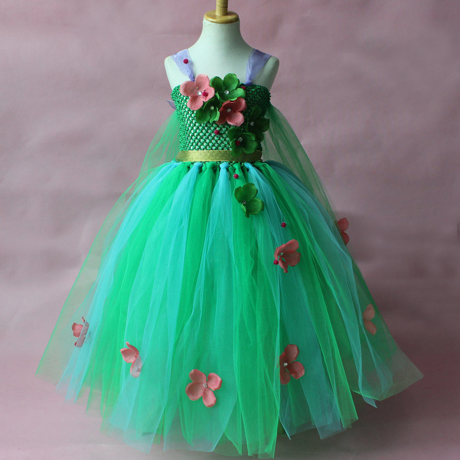 Fashion girls princess party dress costume bow applique flower green tutu elsa dress birthday gown for 7 years old 1pcs lo sfp 10g sr s 10g