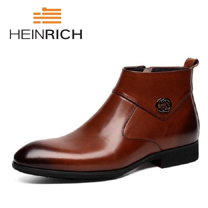 ea5137ba871 MYCOLEN Men Leather Boots Black Fashion Zipper Ankle Boots Winter ...