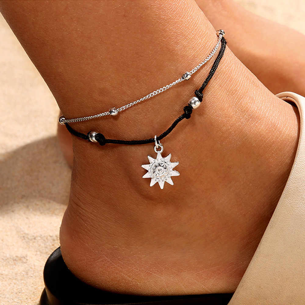 Double Chain  Sun Anklet Jewelry Beach Section Anklets Beads Boho Foot Gothic Bo banquet ankle bracelet for going party #T