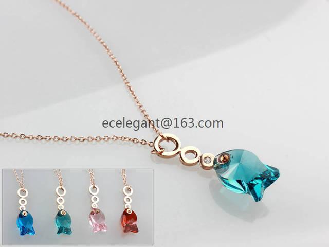 WLN0126 VENTA CALIENTE de La Manera Nuevo Diseño de oro rosa collar de las mujeres pandent pez, acero inoxidable necklacebirthday regalo