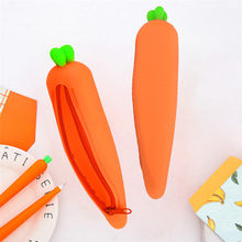 Carrot Silicone Gift School Pen Case Cosmetic Makeup Storage Bag Purse Bag Kid Stationery Supplies Box Writing Gift 19jun13(China)