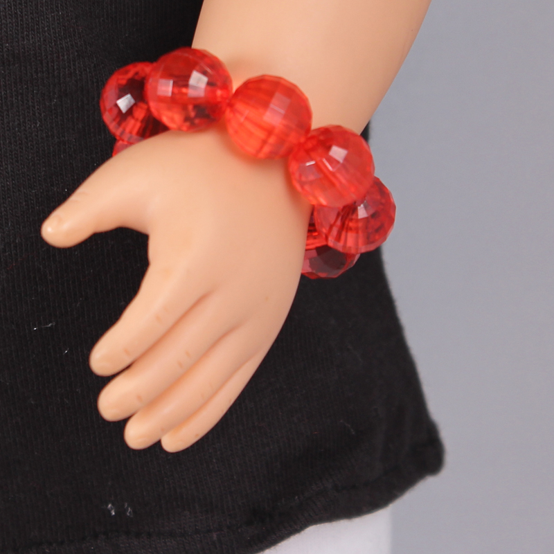 Doll Accessories Red Crystal Beads Bracelet Fit 18 inch American girl doll Children Best Birthday Gift