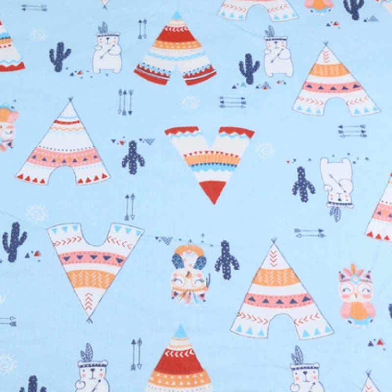 160 cm * 50 cm coton nordique vent gris BEIGE clair bleu dessin animé ours chasseur tente hibou flèche tissu pour bricolage literie travail manuel décor