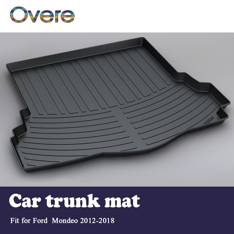 Overe 1Set Car Cargo rear trunk mat For Ford Mondeo 2012 2013 2014 2015 2016 2017 2018 Boot Liner Tray Anti-slip Mat accessories trunk mat for ford mondeo 2008 2014 durable waterproof luggage mats tray for dogs