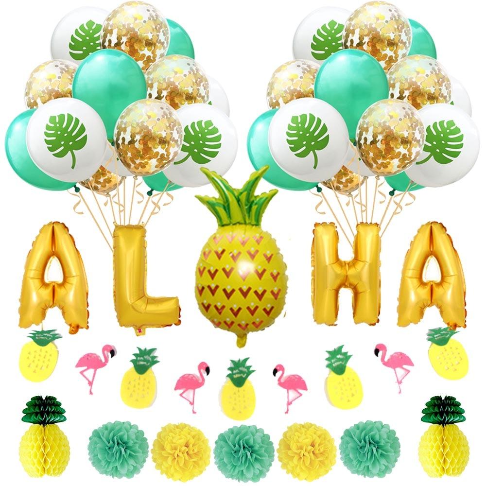 Aloha Tropical Party Decorations Pineapple Flamingo Garland Plam Leaves Confetti Latex Balloons Pom Poms Hawaiian Beach Summer