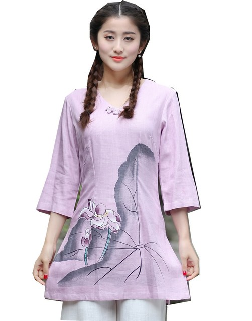 142f493cb9834 Shanghai Story tang suit women s Sprint Long Sleeve blouses Chinese  Traditional Clothing Shirt womens tops Linen top 3 Color