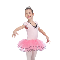 Light Pink and Hot Pink Puffy Sleeve Leotard with Tulle Skirt for Ballet Dancing Performance