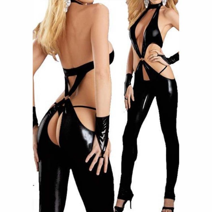 Night club sexy lingerie women latex catsuit Steel tube dance clothes Black sexy bodysuit for female