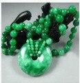 Free shipping Myanmar jadeite jade peace clasp pendant necklace with green jade jade bead sweater chain charm women