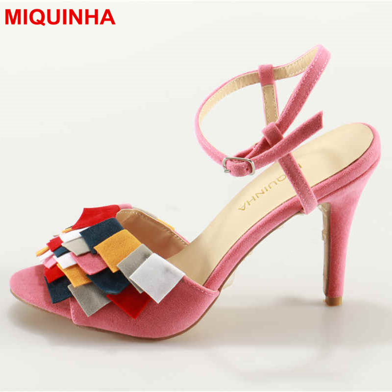 MIQUINHA Peep Toe Rainbow Color Sexy High Thin Heel Buckle Design Women Sandals Super Star Runway Summer Mujer Sandalia Stiletto фигурка героя мультфильма littlest pet shop lps 2215